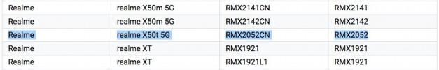 Realme X50t 5G出现在认证清单中